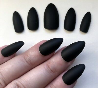 Stick on False Nails STILETTO Matte Black HALLOWEEN claw witch FREE POSTAGE UK