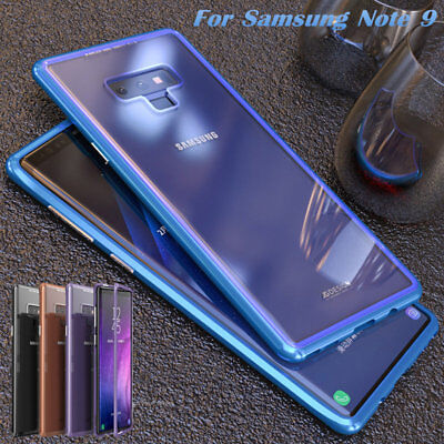For Samsung Galaxy Note 9 Magnetic Absorption Tempered Glass Metal Bumper Case