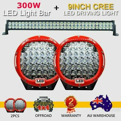 2x 9inch 99999W Cree LED Driving Lights Spot Lights OFFROAD +180W LED Light Bar
