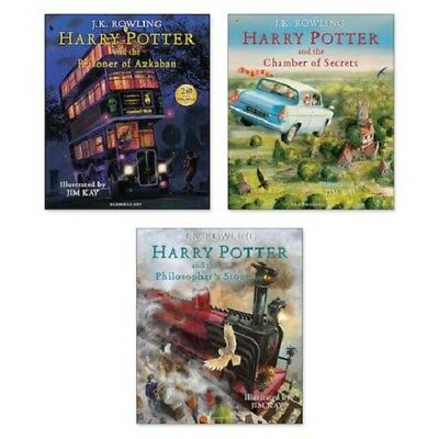 Harry Potter Illustrated Editions x 3 Hard Back, Chamber, Secrets, Stone - NEW