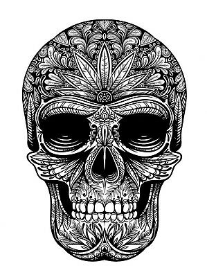 High Quality 9.5cm x 6.5cm Fake Tattoo Skull Weed Waterproof Temporary Body Art