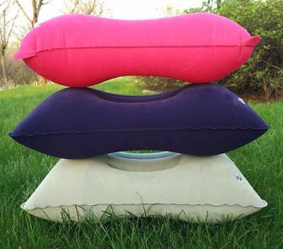 Rectangle Pink Soft Portable Inflatable Pillows Travel Outdoor Folding Cushions