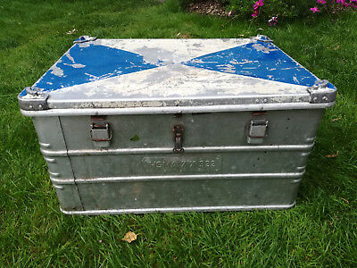 Military style Zarges vintage aluminium metal box: storage/ packing / furniture