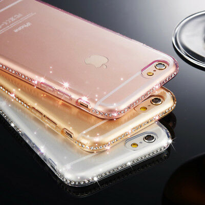 Luxe Rhinestone Cover Soft Clair Silicone Coque Pour iPhone 8 6S 6 7 Plus X