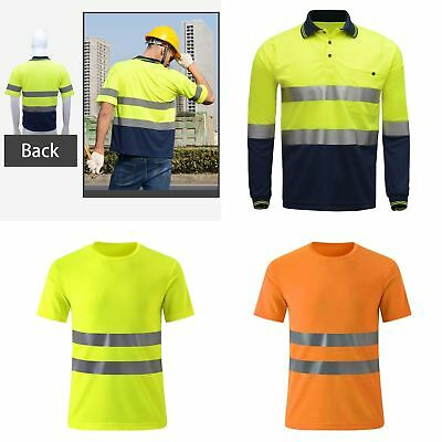 Hi Viz Vis Polo T Shirt Reflective High Visibility Tape Safety Security Work HOT