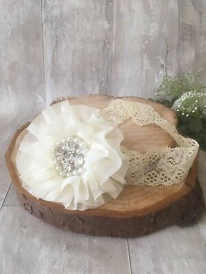 Baby Cream Lace Large Flower Christening Headband Pearl Halo Baptism Wedding