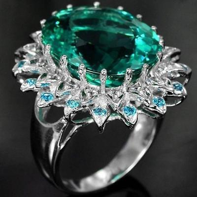 1CT Blue Topaz Solid Sterling Silver Art Deco Filigree Ring Sz 6 10 HOT