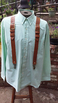 Men's Ostrich Embossed Leather Suspenders Hand Crafted