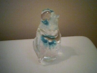 Glass PENGUIN Figurine - Clear with blue and bubbles