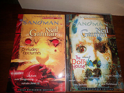 Sandman Neil Gaiman TPBs Volume 1 &2 Fully Recolored Edition Preludes Doll House