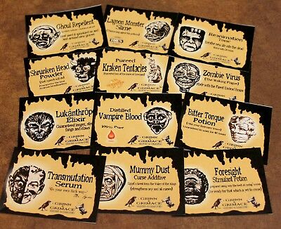 12 Halloween Vintage prim Witch Apothecary potion bottle Label stickers