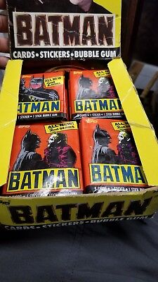 BOX OF 25 Batman Movie Trading Cards (Topps, 1989) Wax Pack GOOD CONDITION