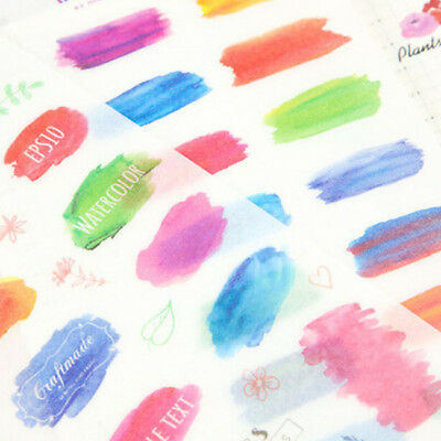6 Sheet Colorful Watercolor Planner Stickers Diary Memo Journal  Decoration CB