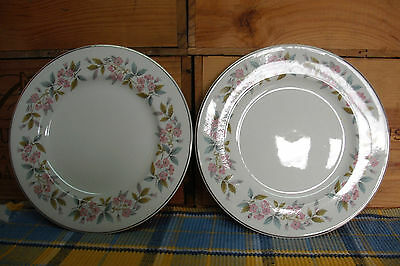 """Johnson Brothers Snowhite - 2 Plates 8"""" Side Or Tea Pink Floral - Dining Kitchen"""