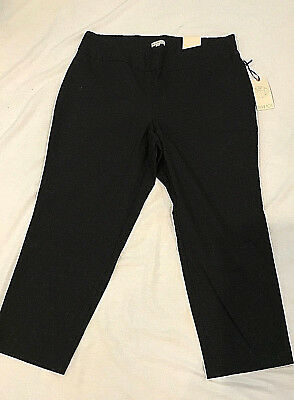 66f9e398f81c8 Plus Size Women s Dress Pants Black Color Pull-On Stretch Textured Cropped  Pants