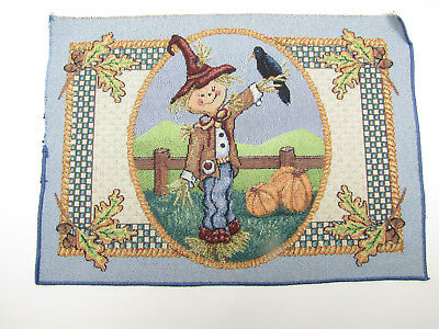 Scare Crow Pumpkin Halloween - Unfinished Tapestry Fabric Place Mat Piece 13x18