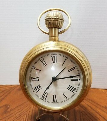 Vintage Large Brass Pocket Watch Style Clock  Made in India