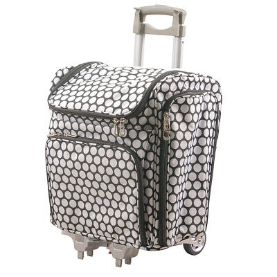 Couture Creations Tote - Craft Rolling Travel Trolley - White Spots (2pc)