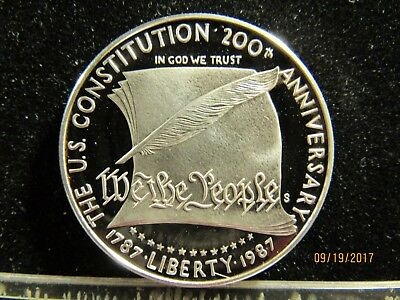 1787-  1987 The Us Constitution 200 Th Anniversary 1 Dollar Round