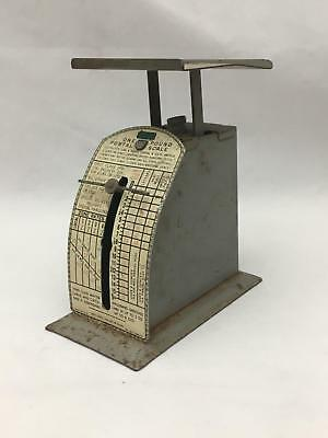 Vintage Small One Pound Tin Postal Scale Circa 1950's Postage was 3 CTS
