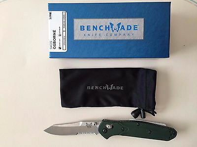 New Benchmade 940S Osborne Folding Knife Satin Serrated Blade Green Aluminum