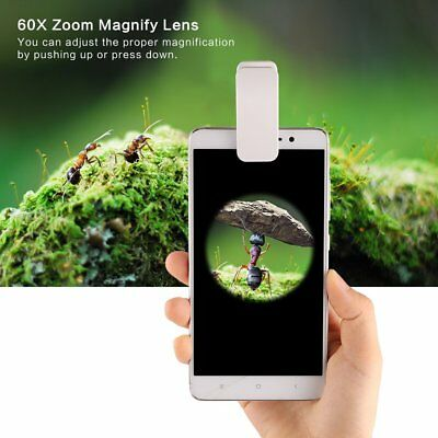 2018 3LED Clip Mobile Phone Microscope Magnifier Micro Lens 60X Optical Zoom NEW