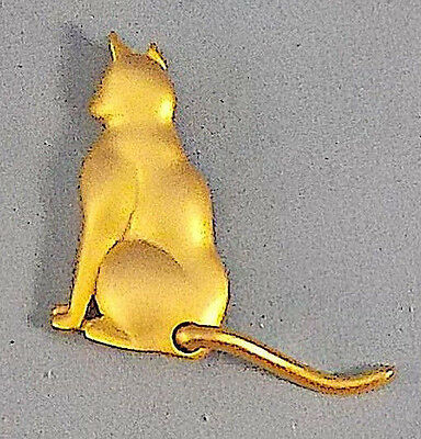 Vintage / ANTIQUE brass cat pin MOVABLE TAIL COLLECTIBLE BROOCH ANIMAL SIGNED JJ