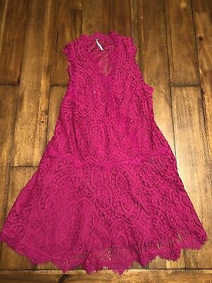 3ed83352b6778 Womens Free People Heart In Two Bright Orchid Lace Purple Mini Dress NWOT XS