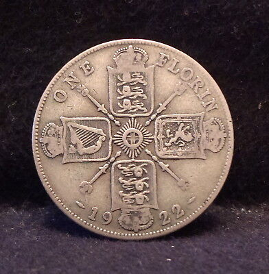 1922 Great Britain silver florin (2 shillings), earlier George V, KM-817a (GB9)