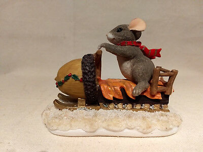 Fitz & Floyd MAXINE'S SNOWMOBILE RIDE Charming Tails Figurine 87/612 Mouse Acorn
