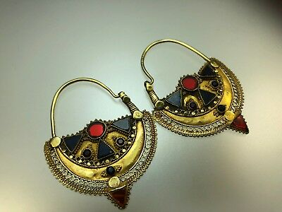 Antique Ancient Large Solid Gold Earrings with Colorful Glass Work & Fine Detail