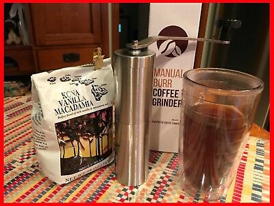 Manual Coffee Grinder, Conical Burr Mill, Brushed Stainless Steel, FREE SHIPPING