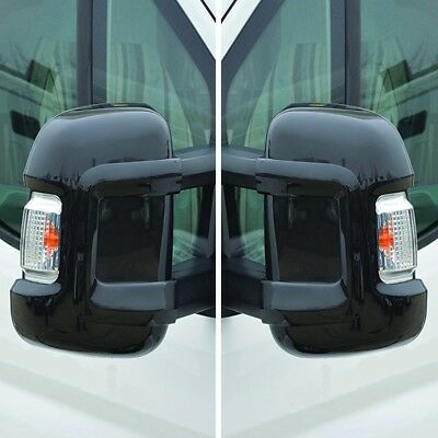 Mirror Protectors Ducato Peugeot Boxer Citroen Relay LONG ARM Black Pair Milenco