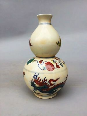 Chinese Ming Dy Chenghua Porcelain Hand-painted *dragon* gourd Vase XS