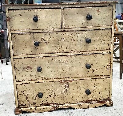Original Painted Antique Regency Chest Of Drawers