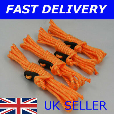 X4 Moss Green Guy Line Ropes 3 Metres Tent Camping Gazebo Rope Paracord