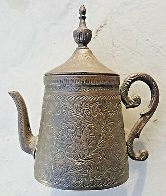 Antique Old Brass Tea Coffee Floral Design Arabic Turkish Pot Hand Made