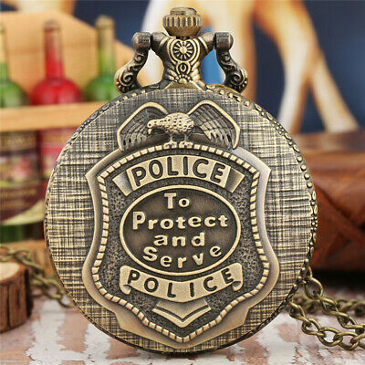 Retro Bronze POLICE Quartz Pocket Watch Pendant Necklace Chain Mens Women Gift