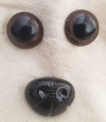 Medium Set Brown Safety Eyes & Nose for Teddy Bear Dog Cat Animal Stuffed Toys