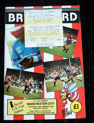 Brentford v Manchester City   FA Cup 4th  Round     28-1-1989    & ticket