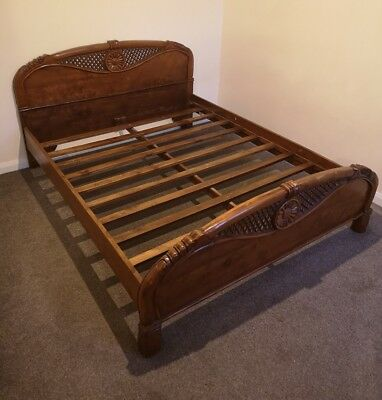 Stunning Hand Carved Double or King size Bed antique one of a kind. Possibly oak