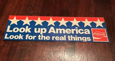 vintage Coca-Cola Bumper Sticker Look Up America Look For The Real Things Unused