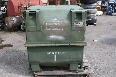 "Military Metal Engine Shipping Storage Container Green 47""x38""x41"" press. valve"
