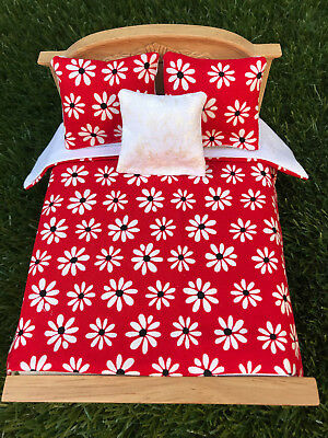 * Miniature Dollhouse Bedspread and Pillows 1:12 scale WHITE DAISIES ON RED