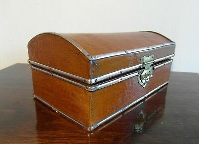 Vintage Chinese Metal Bound Lacquered Replicated Leather Box