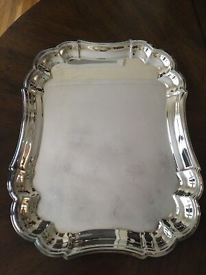 Gorham Heritage Silver Plated Rectangular Scalloped Tray/Serving Platter, YH14