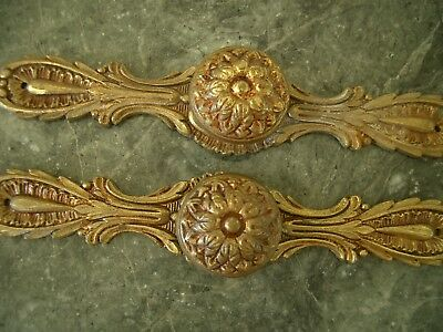 2 Large Antique Vintage French Provincial Brass Backplates & Drawer Pulls Knobs