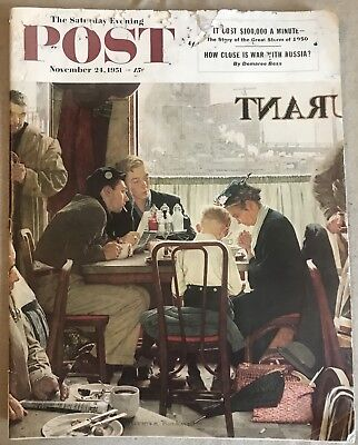 The Saturday Evening Post November 1951 Norman Rockwell Cover