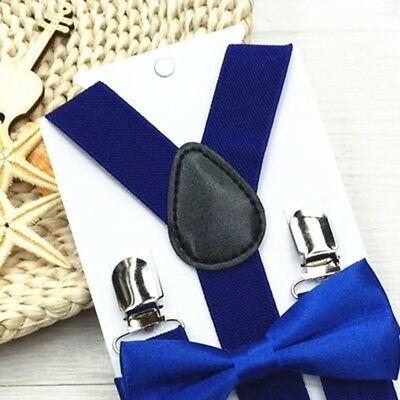 Solid Clip-on Suspenders with Bow Tie for Boy Girl Elastic Adjustable Braces #EY