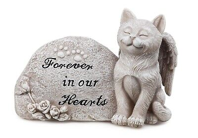 """NEW 4 x 6 x 3"""" Forever In Our Hearts Cat Memorial Stone Anti Fade Finish Garden"""